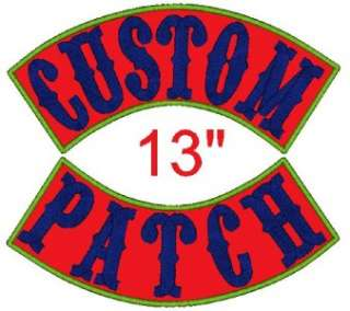 Custom Embroidered Name Patch XL Rocker Motorcycle 13 Personalized
