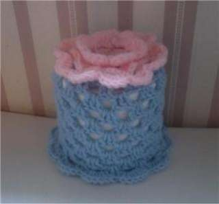 Handmade Crochet Toilet Paper Roll Cover ( Pink with Blue)