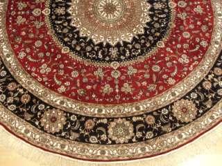 Beautiful Handmade 100% Silk Fine Oriental Rug Qum Design ROUND RUG