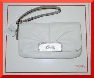 NEW COACH LEATHER ASHLEY WRISTLET CLUTCH SMALL BAG #F45981 WHITE