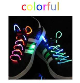 Color LED Flash Light Glow Shoelaces Shoe Lace DISCO