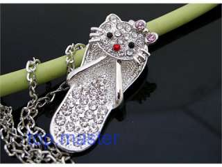 Beautiful HOT hello kitty crystal slippers necklace H48