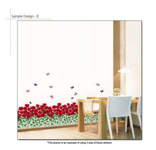 RED ROSE GARDEN Mural Art Removable Wall Decal Sticker