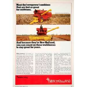 1968 Ad New Holland Sperry Rand Soybeans Combine Beans