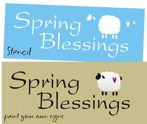 Stencil Spring Blessings Primitive Sheep Easter Signs