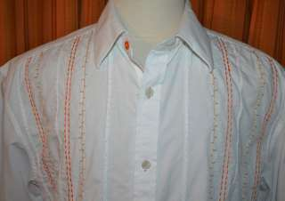 SEAN JOHN SHORT SLEEVE WHITE ORANGE BROWN BUTTON DOWN 100% COTTON