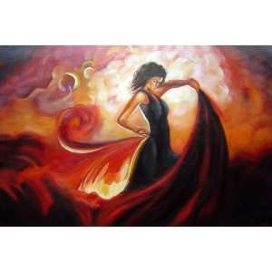Spanish Flamenco Dance in Red Oil Painting 24 x 36 inches: