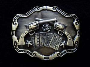 COUNTRY & WESTERN COLT GUNS ROSES CARDS BELT BUCKLE