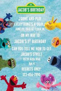Sesame Street Custom Birthday Party Invitations