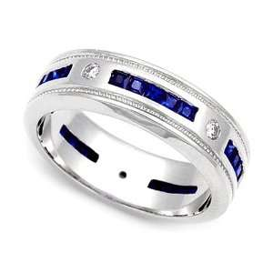 and Blue Sapphire Eternity Wedding Band Ring (G H/SI, 1/7 ct.), 5.5