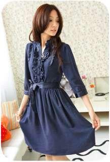 NAVY BLUE DRESS W/ SATIN RUFFLES & RIBBON BELT / XS