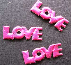 300 Hot Padded LOVE Word Appliques Bow Scrapbook Card