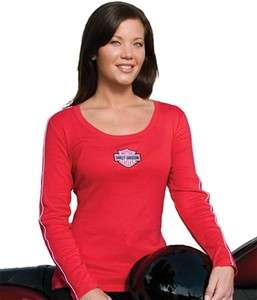 Davidson Womens Red Scoop Neck Ribbed Long Sleeve T Shirt