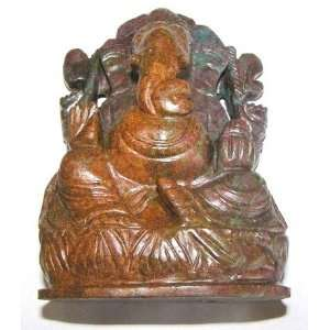 Ruby Kyanite Ganesh 03 Red Blue Crystal Statue Stone Healing God Hindu