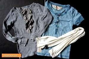 KIDS Girl TWO J Crew Cuts Top T shirt & Ralph Lauren Shirt W/ Scarf Sz
