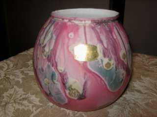 VTG SAPHIR STUNNING ART GLASS VASE PINKS BLUE & MORE