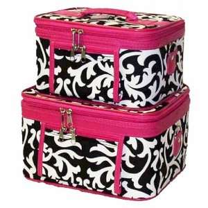 Cosmetic Toiletry 2 Piece Luggage Set Damask Hot Pink Trim Beauty