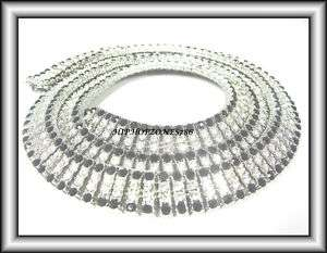 ROW WHITE BLACK ICED OUT HIP HOP BLING CHAIN NECKLACE
