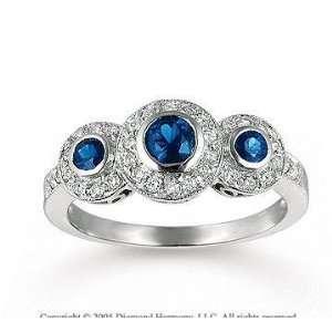 14k White Gold Blue Sapphire Diamond Three Stone Ring Jewelry