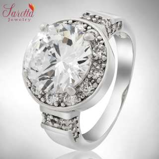 SALE! Gift Round Cut White Fine Clear Topaz Ladies Ring Fashion