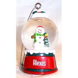 Alexis Christmas Snowman Snow Globe Name Ornament