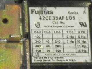 FURNAS 42CE35AF106 MAGNETIC DEFINITE PURPOSE CONTACTOR