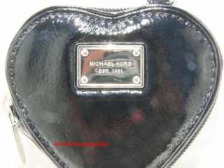 MICHAEL KORS JET SET Black Leather Heart Coin Purse NWT