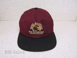 Rocky Mountain Elk Foundation Sponsor Embroidered Hat Ball Cap Maroon
