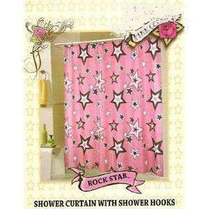 Western Star Shower Curtain Set Pink Cowgirl Rock