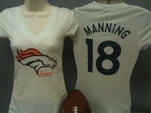 Sm Lg Womens Denver Broncos shirt Ladies Peyton Manning tshirt tee