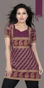 Indian Designer Kurtis Tunic Tops Kurta   Short Sleeves
