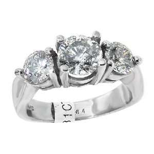 14kt White Gold Details 2 1/2ct Three Stone Brilliant Cut Diamond