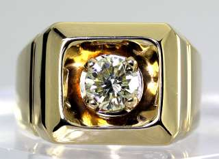 CLASS FLASH MENS .90CT SOLITAIRE FANCY DIAMOND 14K YELLOW GOLD RING $
