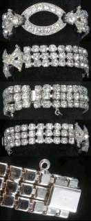 Vintage Weiss Signed Rhodium Plated Prong Set White Rhinestone