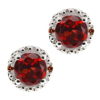 Ct Round Red Garnet and Cognac Red Diamond Argentium Silver Earrings