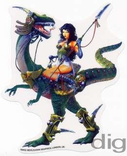 Sexy Warrior RAPTOR DINOSAUR GIRL & Spear Sticker/Decal