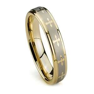 Women Wedding Band, Gold Plated Tungsten Ring, High Polish