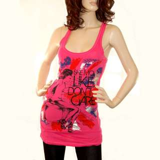 New Unique Print diamond Rhinestone Long Stretch tank top Womens Shirt