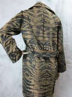 795 New with Tags DKNY Donna Karan Brown Gold Tiger Print Belt Trench