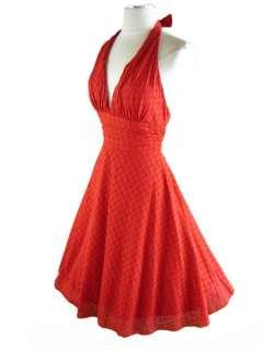 50s Style RED EYELET Marilyn Bombshell HALTER Dress