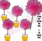 Round HOT PINK Fluffy Tulle Flower Pom Pom Ball 6 P