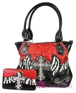 Patent Crocs Zebra ANGEL WING Tote Bag Purse Walllet SET Red