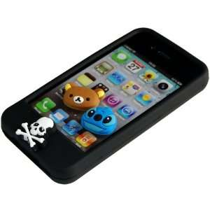 Black Cute Cartoon replaced Buttons Silicone Case Cover