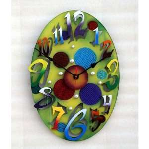 Small Modern Oval Green Wall Clock Home & Kitchen
