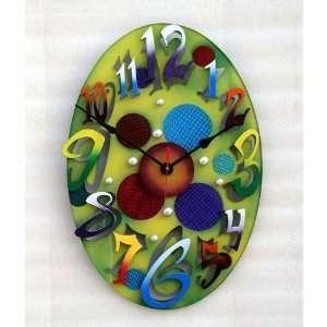 Small Modern Oval Green Wall Clock