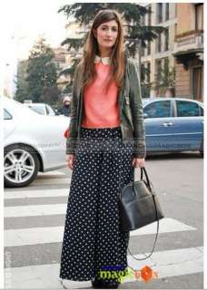 New Women Fashion Classic Vintage High Waisted Dots Wide Pants WPT143