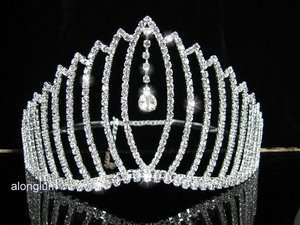 Bridal Bridesmaid Prom Party Dangling Droop Swarovski Crystal Tiara