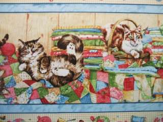 Quilting Purrfection Kitty Cat Stripe South Seas Fabric 745181257255