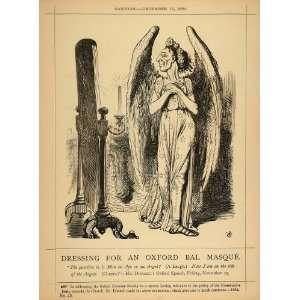 1878 Print Punch Cartoon Disraeli Oxford Speech Angel