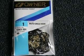 Owner Pro Pack Mutu Circle Hooks Sz #1 (Qty 40) #5363